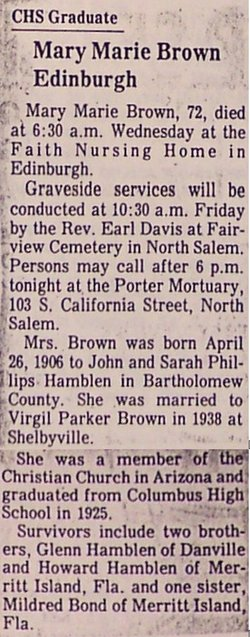 Mary Marie <i>Hamblen</i> Brown