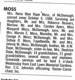 Nena Mae <i>Rape</i> Moss