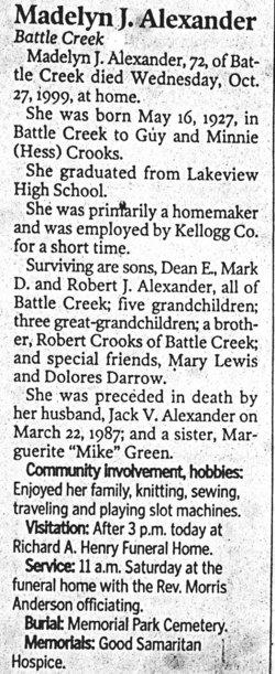 Madelyn Jean <i>Crooks</i> Alexander