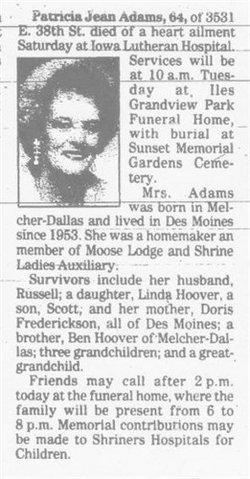 Patricia Jean <i>Hoover</i> Adams