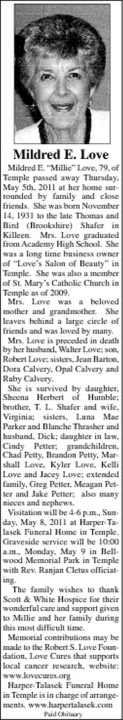 Mildred E. Millie <i>Shafer</i> Love