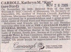 Kathryn M Kay <i>Ford</i> Carroll