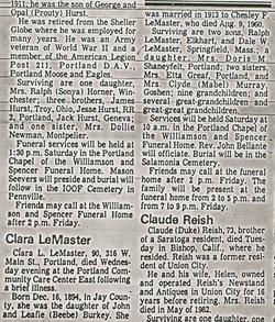 Clara Louise <i>Burkey</i> LeMaster