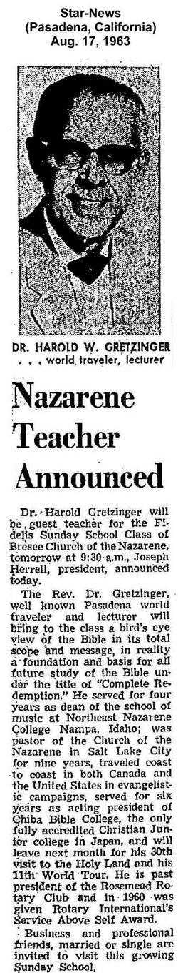 Rev Harold William Gretzinger