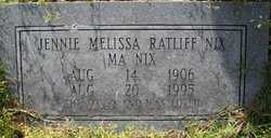 Jennie Melissa Ma Nix <i>Ratliff</i> Nix