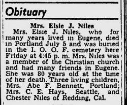 Mrs Elsie J. <i>Hall</i> Niles