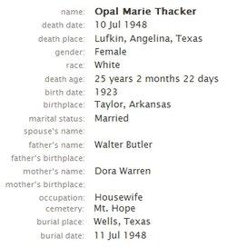 Opal Marie <i>Butler</i> Thacker