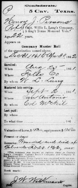 Pvt Henry J. Persons