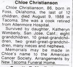 Chloe Malinda <i>Ruyle</i> Christianson