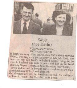 Mrs Anna Mary Monica <i>Flavin</i> Swigg