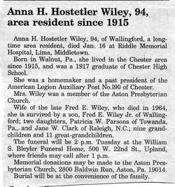 Anna H. <i>Hostetler</i> Wiley