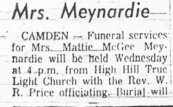 Mattie <i>McGee</i> Meynardie