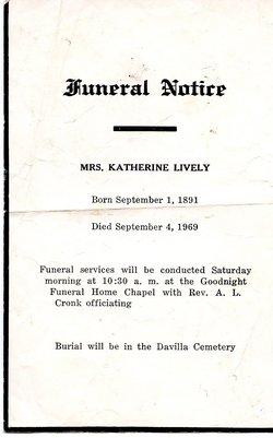 Katherine Elizabeth <i>Sprott</i> Lively
