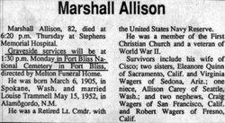 Marshall D Allison