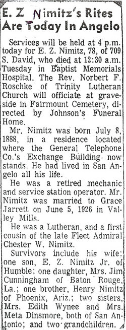 Edwin Zively Nimitz, Sr
