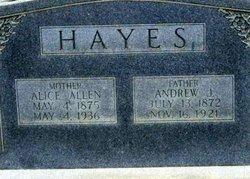 Alice <i>Allen</i> Hayes