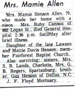 Mary <i>Hinson</i> Allen