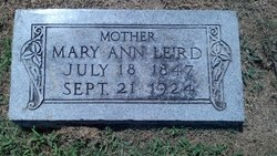 Mary Ann <i>Webb</i> Leird