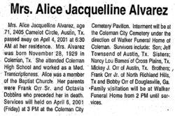 Alice Jackie <i>Orr</i> Alvarez