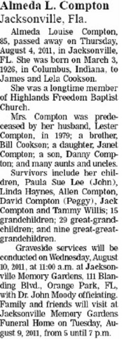 Almeda Louise <i>Cookson</i> Compton