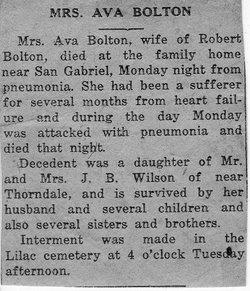 Ava Lue <i>Wilson</i> Bolton