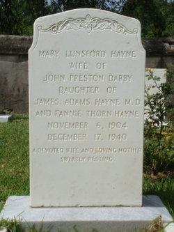 Mary Lunsford <i>Hayne</i> Darby