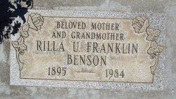 Rilla U. <i>Franklin</i> Benson