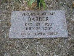 Virginia Inez Ginger <i>Weems</i> Barber