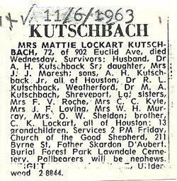 Martha Lenora Mattie <i>Lockart</i> Kutschbach