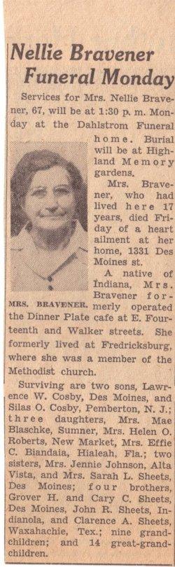 Nellie <i>Sheets</i> Bravener