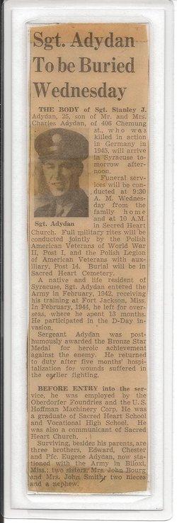 Sgt Stanley J. Adydan