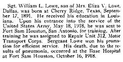 Sgt William L Lowe