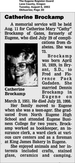 Catherine Mary Cathy <i>Gadsden</i> Brockamp