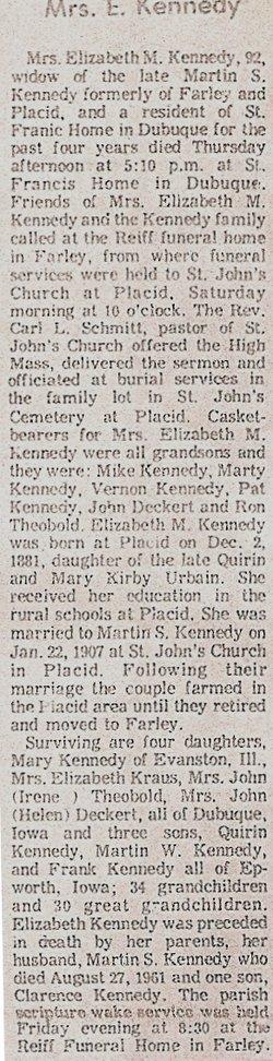 Elizabeth M. Lizzie <i>Urbain</i> Kennedy
