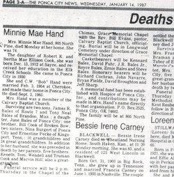 Minnie Mae <i>Cook</i> Bales Hand