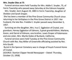 Addie Elizabeth <i>Draper</i> Snyder