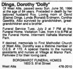Dorothy Ramona Dollie <i>Hepp</i> Dings