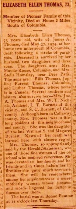 Elizabeth Ellen <i>Burnett</i> Thomas
