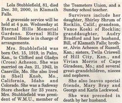 Lola R <i>Acheson</i> Stubblefield