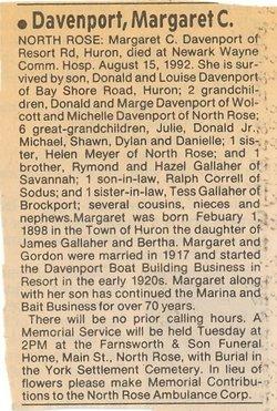 Margaret Cordelia <i>Gallagher</i> Davenport