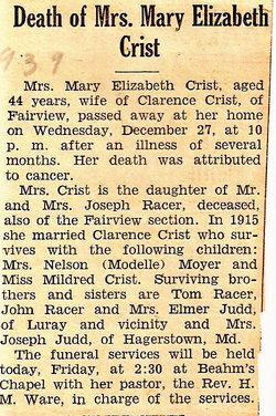Mary Elizabeth <i>Racer</i> Crist