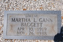 Martha L. <i>Gann</i> Baggett