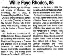 Willie Fay <i>Riley</i> Rhodes