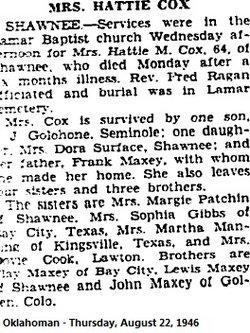 Hattie M. <i>Maxey</i> Cox