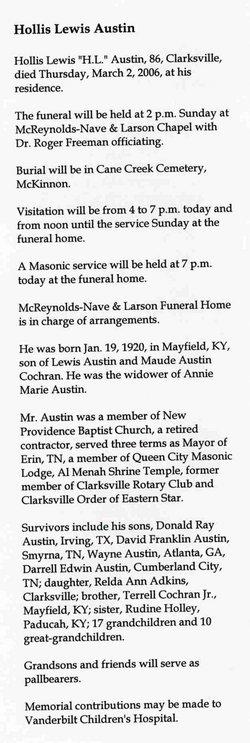 Hollis Lewis H L Austin