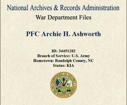 PFC Archie H. Ashworth