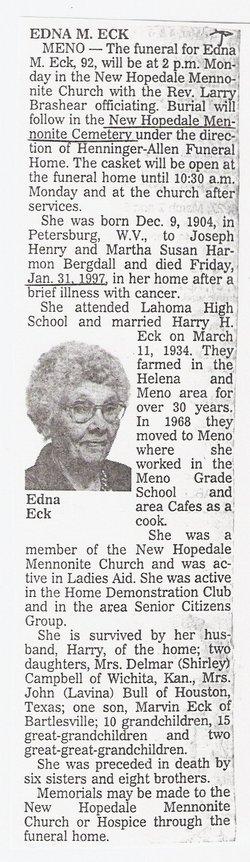 Mernie Edna <i>Bergdall</i> Eck
