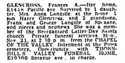 Frances A. Fannie <i>Stone</i> Glencross