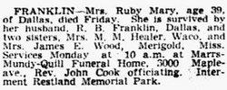 Ruby Mary <i>Johnston</i> Franklin