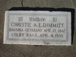 Christiana Elizabetha Christie <i>Lang</i> Dimmitt